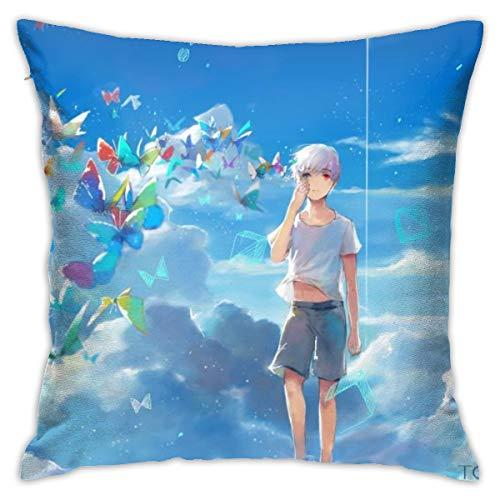 Funda de almohada de anime Tokyo Ghoul Kaneki Ken Butterfly Clouds Sky Anime Boys Heterocromia Azul 18'x18' Fundas de almohada estándar de poliéster agradable para la piel y el pelo