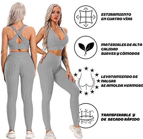 FITTOO Leggings Push Up Mujer Mallas Pantalones Deportivos Alta Cintura Elásticos Yoga Fitness Gris XS