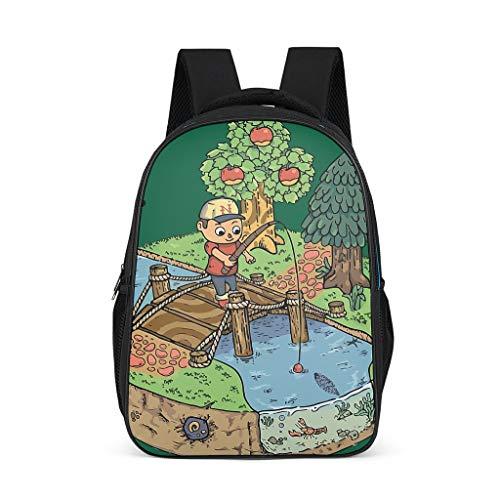 Charzee Fishing Boy Theme kleine kinderen schoolrugzak casual schooltas backpack studenten rugzak voor winkelen 32cmx18cmx42cm