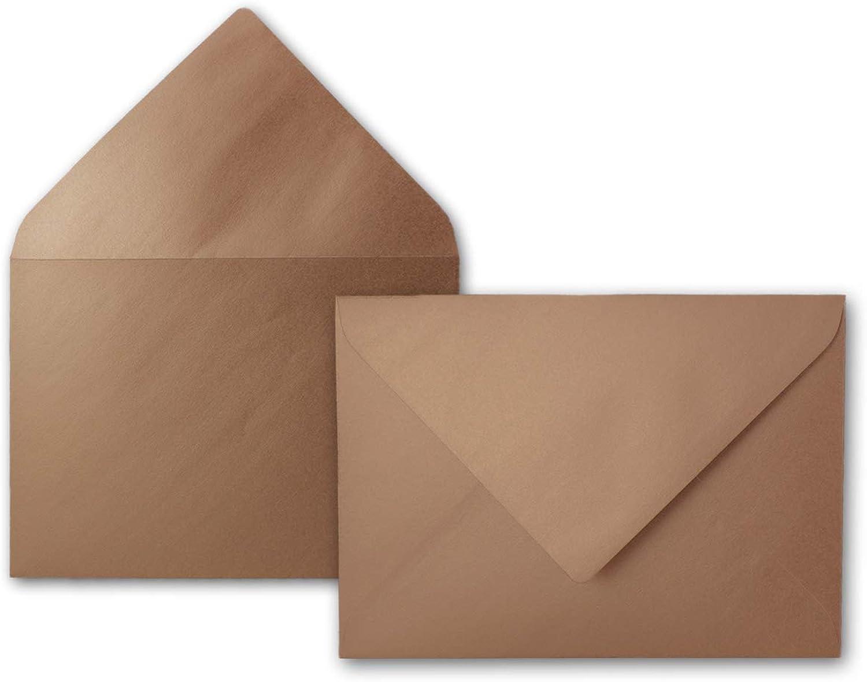 Metallic Briefumschläge in Bronze 300 300 300 Stück metallisch-glänzende KuGrüns in DIN B6 Format 1300x176 mm Nassklebung ohne Fenster - Serie FarbenFroh B07NBK83YY | Gute Qualität  e28e8a