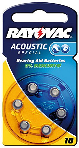 Pile bouton zinc air rayovac acoustic *v 10 pour appareils auditifs de 6