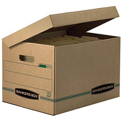 Bankers Box SYSTEMATIC Storage Boxes, Standard Set-Up, Attached Flip-Top Lid, Letter/Legal, Case of 12 (12772)