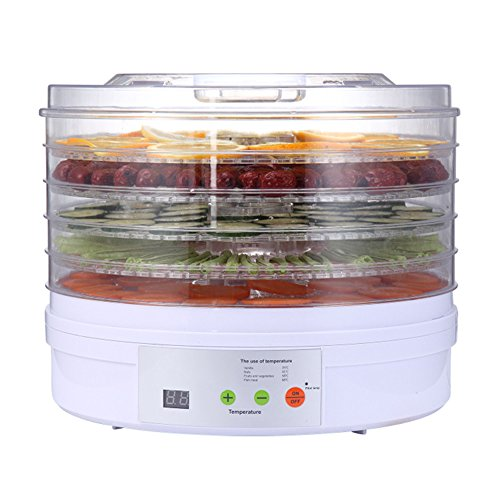 Find Discount Food Dehydrator 5 Drying Trays Food Dryer, 250 Watts,White Base,Process Visible