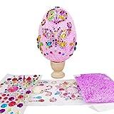 HONG Huevos de Pascua Divertidos, Kit de Manualidades de Huevos de Pascua llamativos y Brillantes, Huevos Pascua Barro Nieve para Manualidades para niños con Pegatina Diamante Creativa,(Rosa)