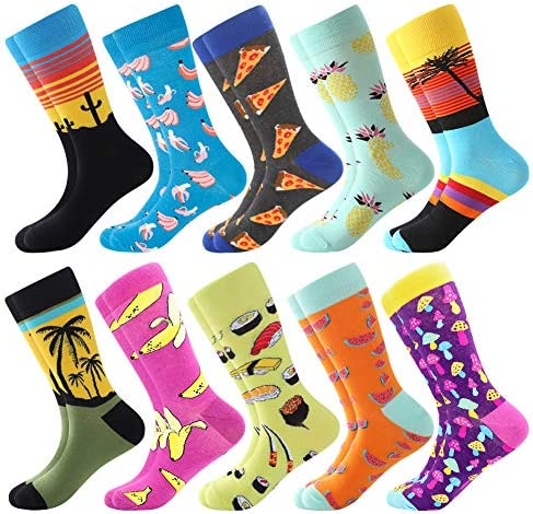Men s Funny Dress Socks Fun Colorful Socks Crazy Novelty Funky Cool Cute Design Printed Crew product image