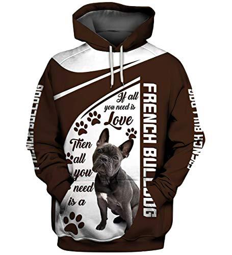 HIPWAG Hoodie Women's Love French Bulldog Hoodies 3D Sweatshirt Men Casual Tracksuits