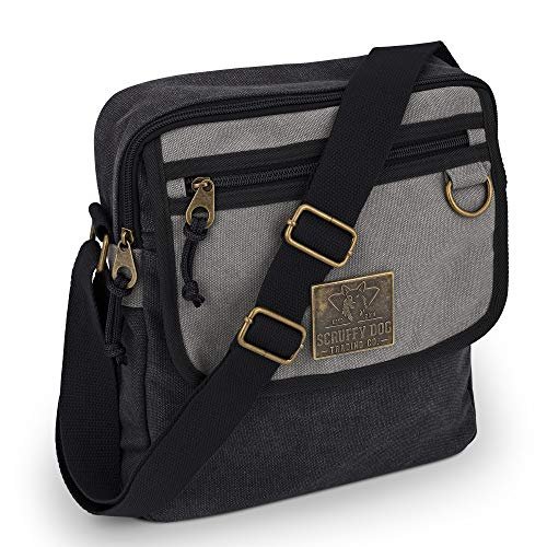 Small Messenger Bag for Men and Women with Adjustable Strap - 11 inch, Black