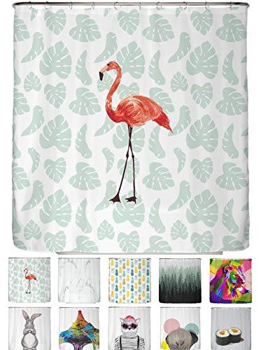 arteneur® - Flamingo - Anti-Schimmel Duschvorhang 180x180 mit Öko-Tex Standard 100 - Beschwerter Saum, Blickdicht, Wasserdicht, Waschbar, 12 Ringe und E-Book