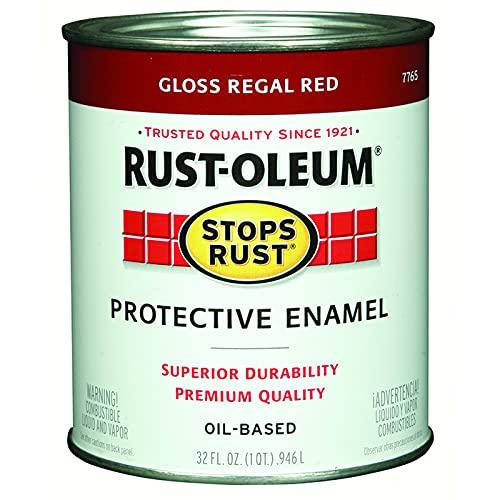 Rust-Oleum 7765502 Stops Rust Brush On Paint, Quart, Gloss Regal Red