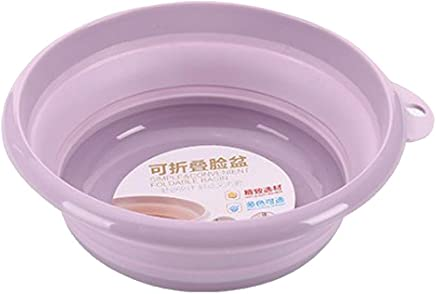 F Fityle Multi-Purpose Collapsible Dish Tub, Round Lightweight Collapsible Wash Basin,Portable Washing Basin,Space Saving - Purple