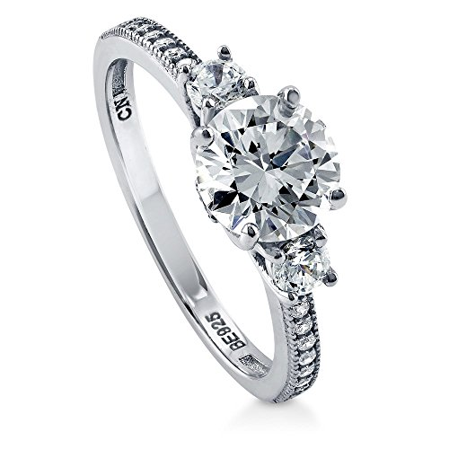 BERRICLE Rhodium Plated Sterling Silver Round Cubic Zirconia CZ 3-Stone Anniversary Promise Wedding Engagement Ring 1.6 CTW Size 7