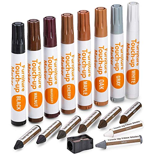 Katzco Furniture Repair Kit Wood Markers - Set of 17 - Markers and Wax Sticks with Sharpener - for Stains, Scratches, Floors, Tables, Desks, Carpenters, Bedposts, Touch-Ups, Cover-Ups, Molding Repair
