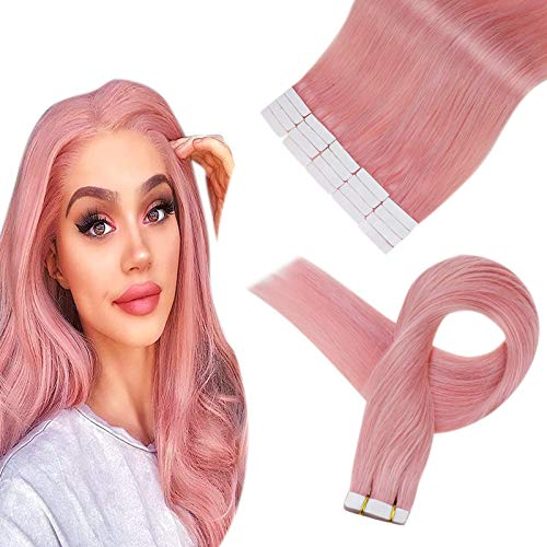 Easyouth Human Hair Tape in Extensions, Pink
