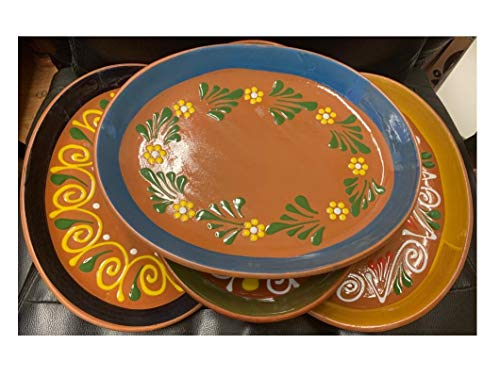 """Made in Mexico 11x8"""" Mexican Grande Dinner or Salad Clay Barro Ovalado Oval Plates Set of 4"""
