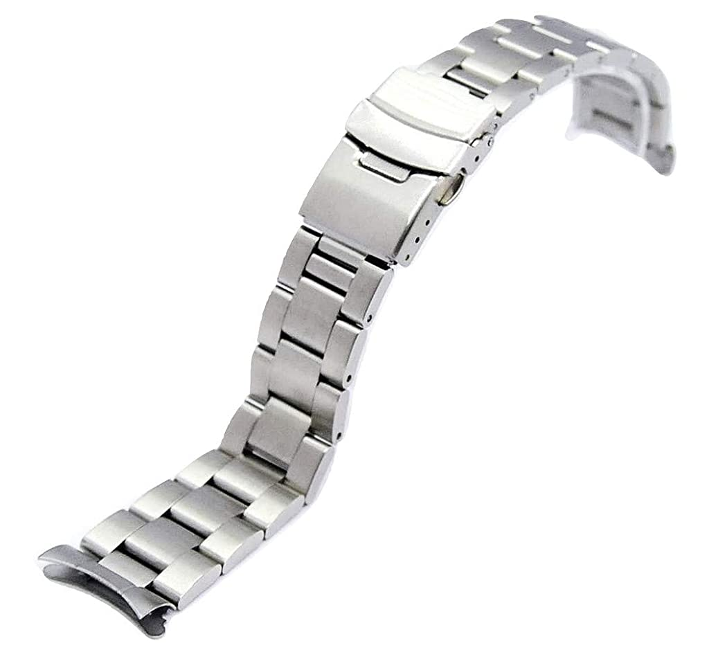 トリップ肉のゴールデン[BASIS+] 腕時計 ベルト 3連 弓カン 無垢 ステンレス ブレスレット 交換 (22mm, シルバー)