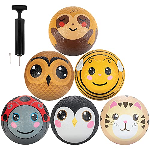 Animal Playground Balls 8.5  (6 Pack) - Textured Rubber Grip - Great for Dodge Ball  Kick Ball  Indoor Outdoor Games Accessories  Gaga Ball  School Supplies  Yoga  Sports - Includes Pump!