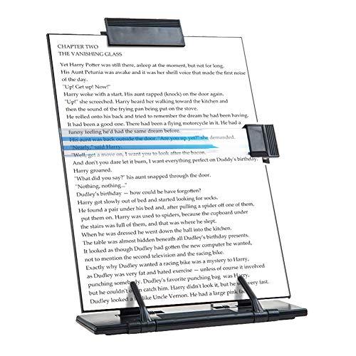 Black Metal Desktop Document Book Holder with 7 Adjustable Positions (Black)