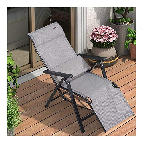 HOUMEL Garden Loungers And Recliners Folding Adjustable Sun Lounger Chair Sunbed With Free Lumbar Pillow For Beach Pool Outdoor Patio Camping Feet Steel 112×47×70 Cm c2025 (Color : Gray)