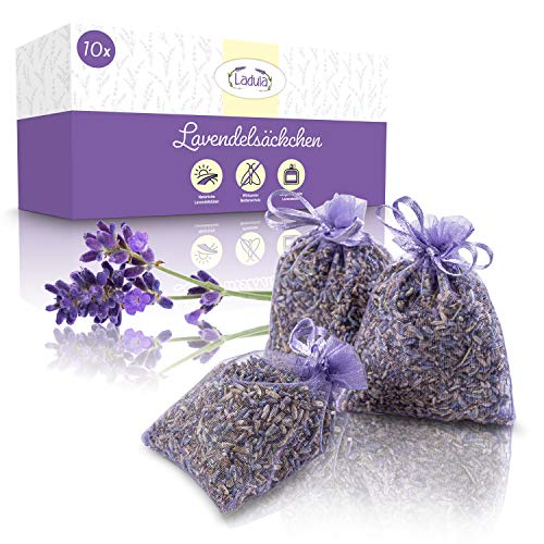 Ladula ® Lavendelsäckchen – Duftsäckchen für Kleiderschrank – Langanhaltendes Dufterlebnis – Mottenschutz für den Kleiderschrank – [10]er Set (Lavendel)