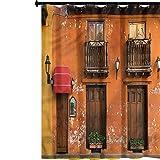 YUAZHOQI Cortina de ducha de tela América, calles Cartagena, cortina de baño con ganchos, 122 x 183 cm