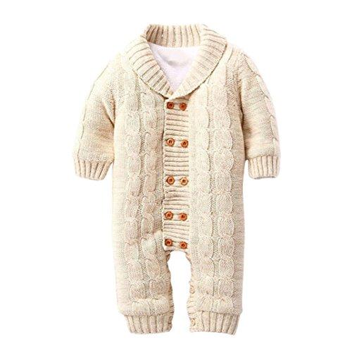 SUCES Neugeborenen Baby Button Strampler Revers Gestrickte Verdickt Pullover Jumpsuit Baby Winter Overall mit Kapuze Fleece Strampler Footed Spielanzug Mädchen Jungen Jumpsuit (12M, Khaki)