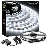 Onforu LED 5M Luces de Tiras, Tira de LED Blanco Frío 6000K con 300 LEDs, Cadena de Luz LED Flexible, Incluido 12V Adaptador con Interruptor, para Interior Decoración Habitación Armario Gabinete