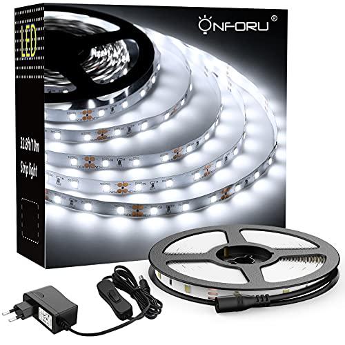 Onforu Luces de Tiras 5M, Blanco Frío 6000K Tira LED, 12V LED Strip Light, 300 LEDs con Adaptador, Adhesivas de Intensidad, para Habitación Cocina Salón Decoración Interior Armario Gabinete