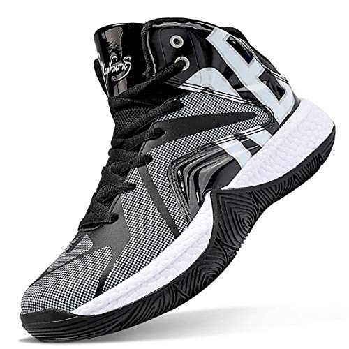 ASHION Kids Basketball Culture Shoes Comfortable Sneakers for Boys Breathable Girls Basketball Shoes Non-Slip High Top Casual Fashion Shoes for Boys Tennis Shoes Size 6 Black