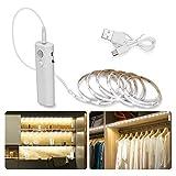 Tira de luz LED blanca fría de 2M con tira de iluminación LED flexible recargable, 6000K para cocina interior doméstica debajo del gabinete (blanco)
