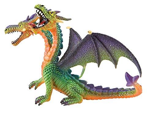 Bullyland 75596 - Spielfigur, Drache mit 2 Köpfen grün, ca. 13 cm groß, liebevoll handbemalte Figur, PVC-frei, tolles Geschenk für Jungen und Mädchen zum fantasievollen Spielen