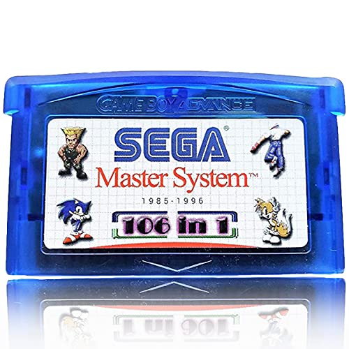 Multicart Game Cartridge for Sega Classics GBA 106 in 1, Retro Advance Gameboy Master System Game Gear 100 in 1 Games Compilation Compatible with GBM/GBA/SP/NDS/NDSL