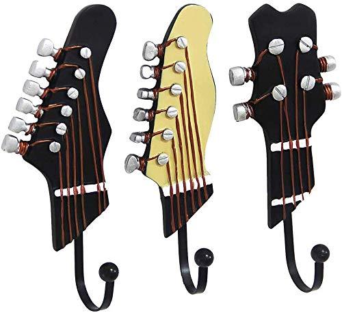 Perchero de pared con forma de guitarra vintage para colgar ropa, abrigos, sombreros, ganchos de resina, ganchos de pared, ganchos, ganchos para colgar llaves, decoración (3 unidades)