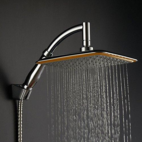 Regenschauer-Duschkopf, quadratisch, 20,3cm, Hochdruck, wassersparend, Drehgelenk, Duschkopf mit Halterung und Duschschlauch Style 02