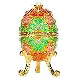 Les-Theresa Scatola portagioie a forma di uovo con strass retrò, scatola di perle finte, decorazione regalo