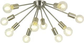 VINLUZ Sputnik Chandelier Brushed Nickel 10 Lights Ceiling Light Fixture Modern Chandelier Lighting for Dining Room Living Room Kitchen Entryway Foyer