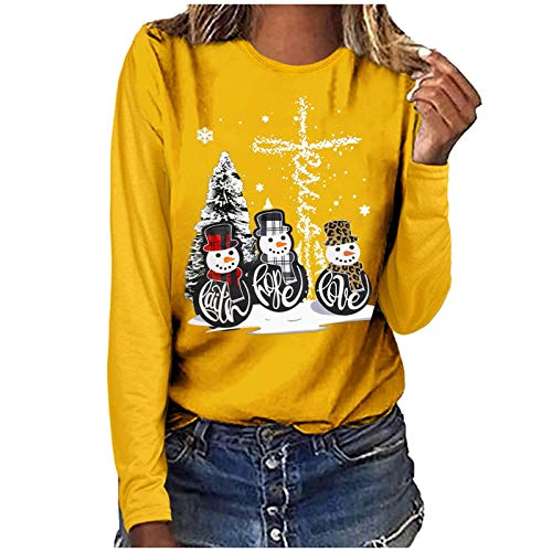 Christmas Long Sleeve Shirts for Women Novelty Snowman Print Graphic Tee Tops Casual Comfy Tshirt Blouse Yellow