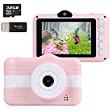 X-LIVE Kinderkamera, Digitale Kamera Dual Lens Bildschirm 3,5 Zoll Bildschirm 32G Speicherkartenband...
