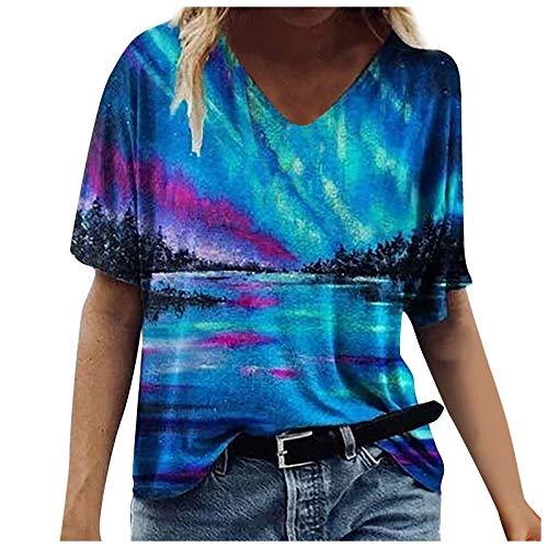 Damen-T-Shirt, Batikdesign, kurzärmelig, lustig, Motiv: Sternenkatze, Löwenzahn, Schmetterling, V-Ausschnitt, lässig, lockere Sommer-Tops, Bluse Gr. XXX-Large, blau