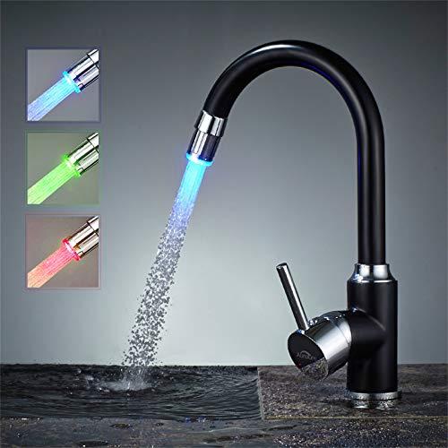 Auralum LED Wasserhahn Küche 360° Drehbar mit 3-Farbtemperaturkontrolle,Hohem Auslauf Küchenarmatur und Spültischarmatur