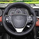 LUVCARPB Cubierta del Volante del Coche, Apto para Toyota RAV4 2013-2018 Corolla 2014-2017 Auris 2013-2016, Bricolaje Cosido a Mano Interior
