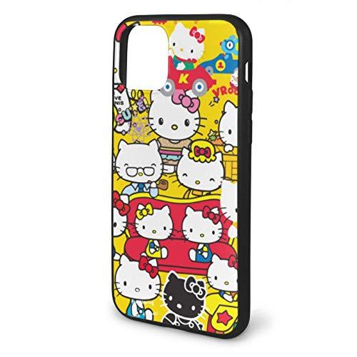VOROY Carcasa para iPhone 11 de Hello-Kitty A-P-L-E, diseño de anime con múltiples formas de teléfono móvil de poliuretano termoplástico transparente, resistente al agua, para iPhone 11 Pro Max-6.5