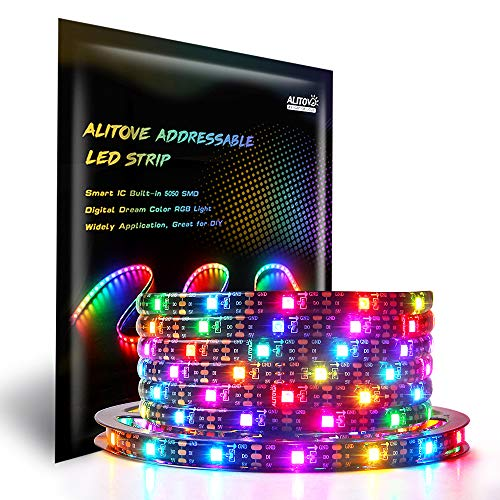ALITOVE 16.4ft WS2812B Individually Addressable RGB LED Strip Light 5m 150 Pixels Dream Color Programmable Digital LED Flexible Strip Waterproof IP65 Black PCB 5V for Home Bedroom Bar Decor Lighting