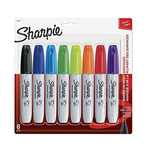 Sharpie 38250PP Permanent Markers, Chisel Tip, Assorted Colors, 8-Count, Standard Packaging