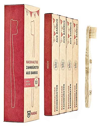 99PANDAS® | Nachhaltige Kinder-Zahnbürste im 4er Sparset aus Bambus-Holz | Extra kleiner Bürstenkopf mit angenehm weichen Borsten für gesunde Kinderzähne | plastikfrei verpackt