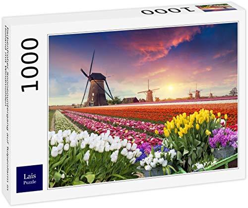 Lais Puzzle Una Colorida Puesta de Sol en una Granja de Tulipanes en Holanda con Molinos de Viento 1000 Piezas