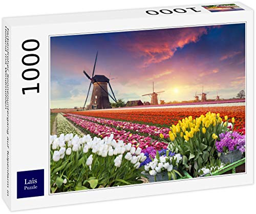 Lais Puzzle Tramonto colorato in Una Fattoria di Tulipani in Olanda con mulini a Vento 1000 Pezzi