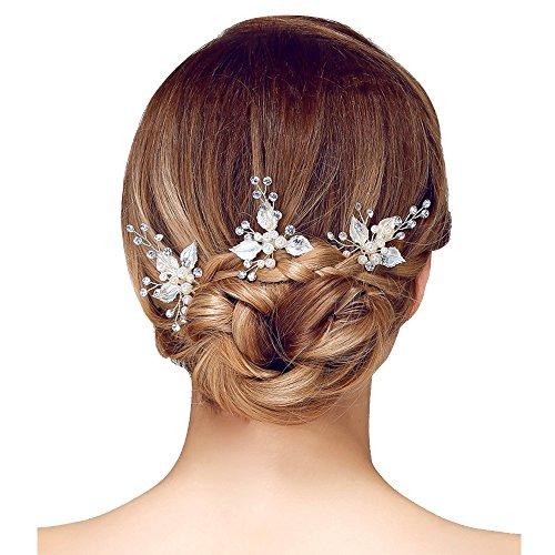 Contever® 3 Pezzi di Capelli Nuziale Pin di Capelli Strass e Perle Artificiali Stick Sposa del Partito