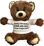 Cutest Sorry I'm Such A Dummy, Please Forgive Me (Brown) - 10 Inch Teddy Bear & Gift Bag - Funny Stuffed Animal Plush - Im Sorry Gift for Her, Im Sorry Gift for Him, Relationship Apology - Witty Bears