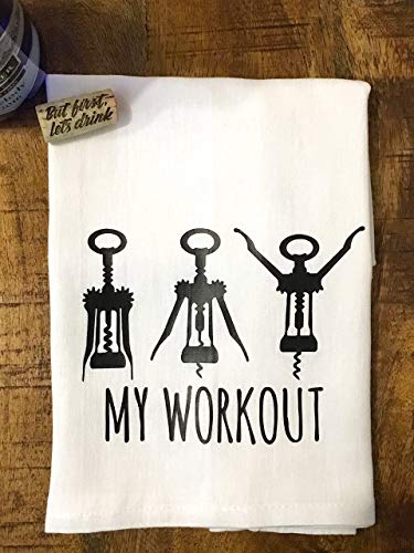Funny Kitchen Towel Wine Workout Flour Sack Towel