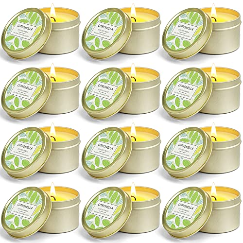 SCENTORINI Velas de Citronella en Lata Ceras de Hierba con Aroma de limón, Cera de Soja Aire Libre 95g 15h x 12